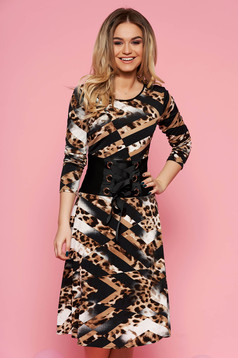 LaDonna black daily dress from elastic fabric with inside lining is fastened around the waist with a ribbon