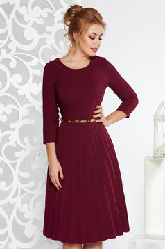 Purple elegant folded up cloche dress flexible thin fabric/cloth accessorized with belt