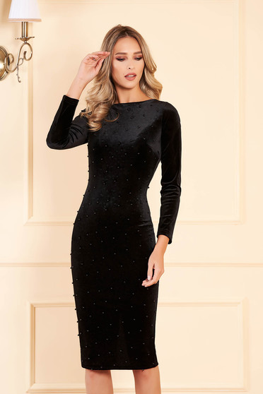 Artista black occasional midi from velvet dress with tented cut with small beads embellished details