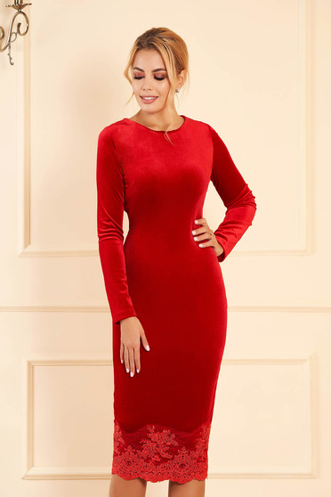 Artista red occasional velvet pencil dress with lace details midi