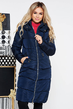 Darkblue casual jacket from slicker with inside lining with undetachable hood with pockets