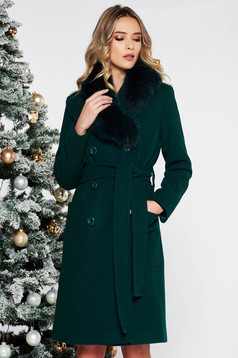 LaDonna green elegant straight wool coat fur collar