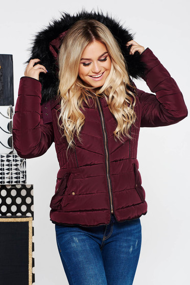 Burgundy casual short cut jacket from slicker with inside lining with undetachable hood from ecological fur