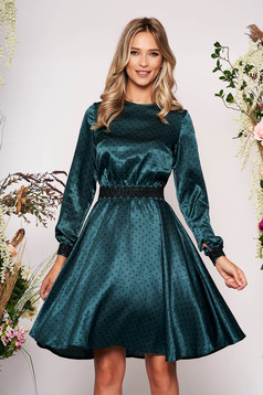 StarShinerS green elegant cloche dress from satin fabric texture with embroidery details accessorized with tied waistband
