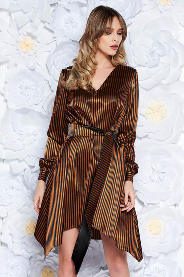 StarShinerS brown dress clubbing flared from satin fabric texture accessorized with tied waistband