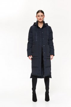 Top Secret darkblue casual long from slicker jacket with straight cut detachable hood