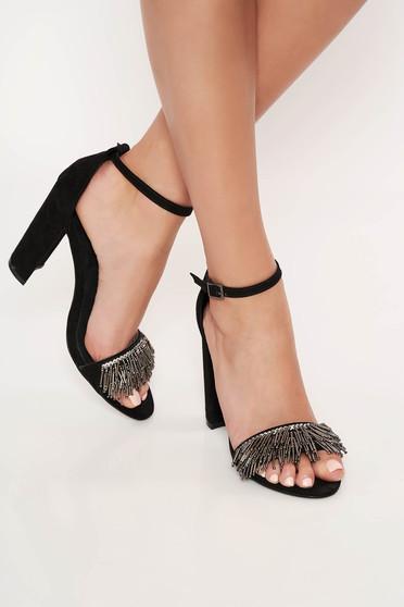 Top Secret black elegant shoes adjustable straps from velvet fabric with small beads embellished details