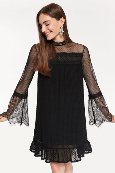 Top Secret black occasional long sleeve dress from tulle with straight cut with lace details