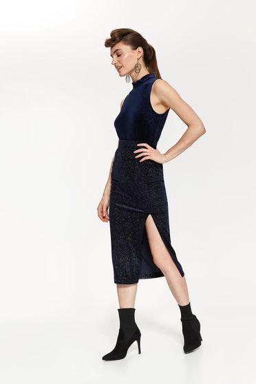 Top Secret darkblue occasional high waisted pencil skirt from velvet fabric