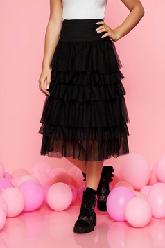 Top Secret black occasional cloche skirt with medium waist from tulle with ruffle details