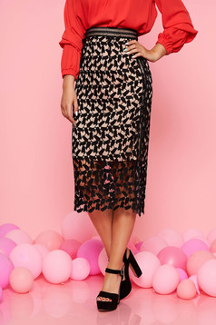 Top Secret black elegant high waisted pencil skirt laced