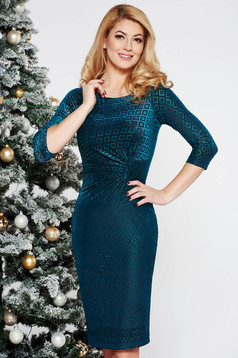Darkgreen occasional pencil dress from soft elastic fabric with inside lining