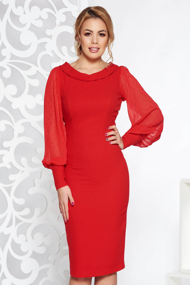 Red occasional midi pencil dress slightly elastic fabric with lame thread transparent sleeves with bright details