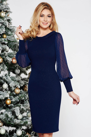 Darkblue occasional midi pencil dress slightly elastic fabric with lame thread transparent sleeves with bright details