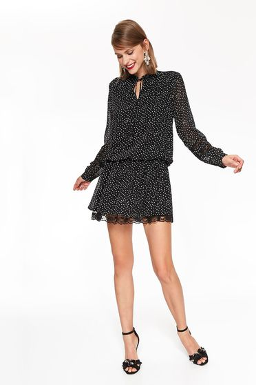 Top Secret black elegant flared dress nonelastic fabric with dots print with lace details