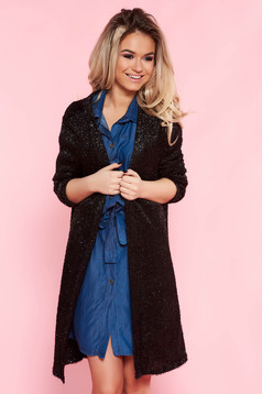 Top Secret black casual cardigan sweater flared knitted fabric