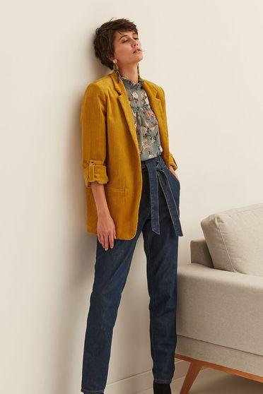 Top Secret yellow blazer velvet jacket 3/4 sleeve with straight cut