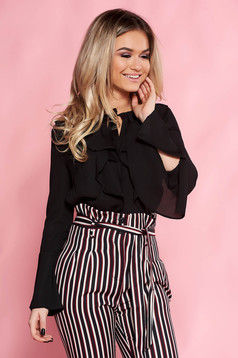 Top Secret black elegant women`s blouse with easy cut with ruffle details with bell sleeve