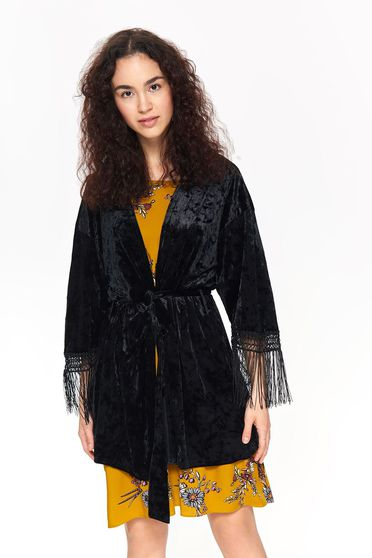 Top Secret black flared from velvet jacket with fringes accessorized with tied waistband