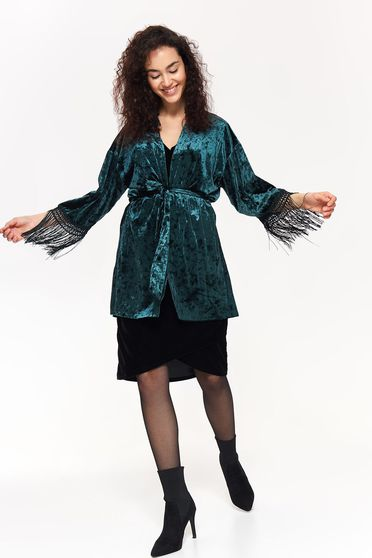 Top Secret green flared from velvet jacket with fringes accessorized with tied waistband