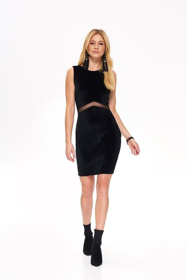 Top Secret black sleeveless occasional dress with tented cut from velvet fabric