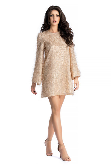 Ana Radu gold occasional flared dress from satin fabric texture