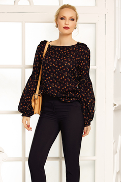 Fofy darkbrown flared women`s blouse with puffed sleeves