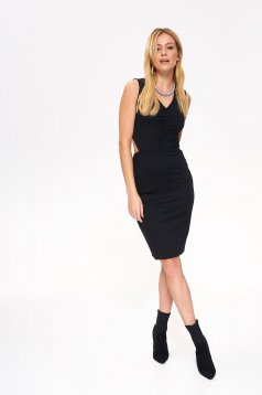 Top Secret black occasional pencil dress with tented cut bare back