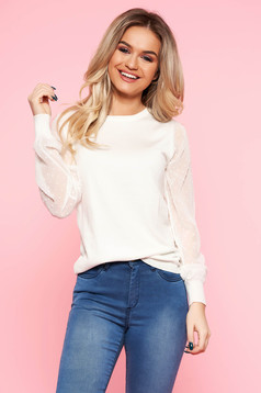 Top Secret white elegant sweater knitted fabric transparent sleeves