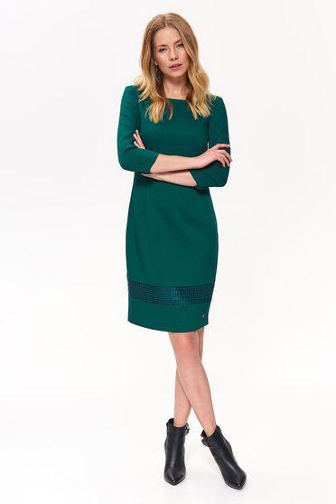 Top Secret darkgreen elegant pencil dress arched cut slightly elastic fabric
