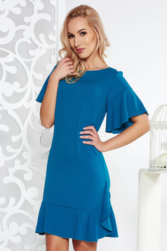 Turquoise elegant straight dress slightly elastic fabric with inside lining with ruffles at the buttom of the dress