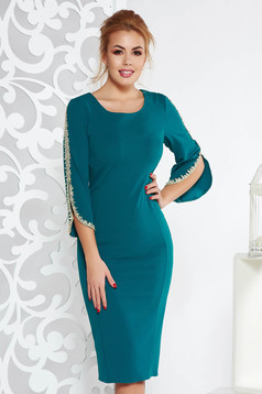 Green elegant pencil dress from elastic fabric with embroidery details with 3/4 sleeves
