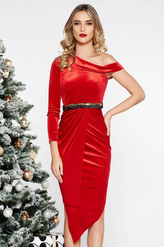Red occasional asymmetrical pencil dress velvet accessorized with tied waistband with sequin embellished details
