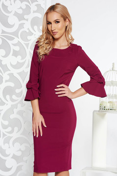 LaDonna fuchsia elegant pencil dress slightly elastic fabric with inside lining with bell sleeve