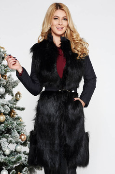 LaDonna black from slicker jacket with inside lining with faux fur accessory accessorized with tied waistband