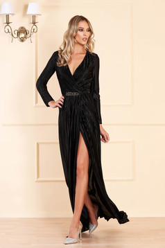 Artista black occasional dress from velvet fabric with v-neckline accessorized with tied waistband