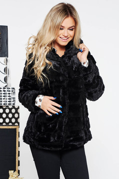 SunShine black clubbing fur from ecological fur with inside lining with undetachable hood