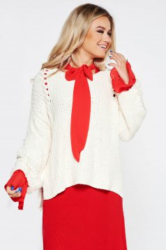 SunShine white casual flared sweater knitted fabric from velvet fabric with pearls
