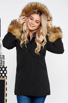 SunShine black jacket casual with pockets from slicker with inside lining with faux fur accessory