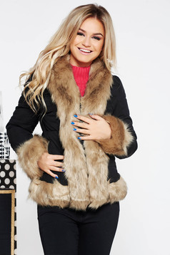 SunShine black short cut casual jacket from slicker with inside lining with faux fur details