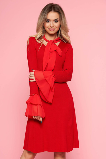 SunShine red clubbing dress with tented cut knitted fabric with bell sleeve