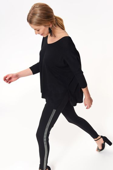 Top Secret black tights with medium waist with tented cut slightly elastic fabric with sequin embellished details