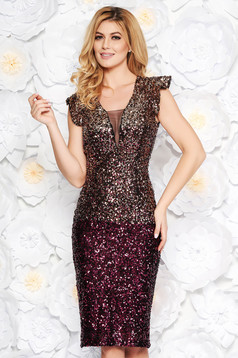Artista burgundy occasional midi pencil dress with sequins with inside lining with push-up cups