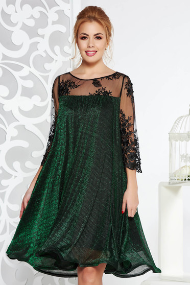 Artista green occasional flared dress thin fabric with inside lining with laced sleeves with lame thread