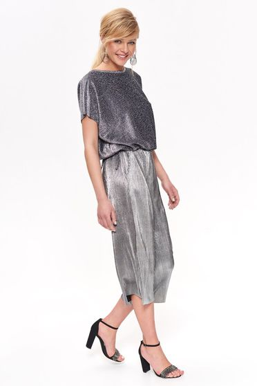 Top Secret silver elegant trousers with easy cut thin fabric folded up with metallic aspect