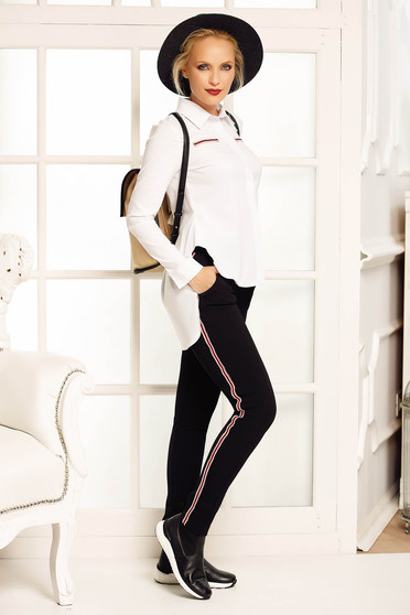 Fofy white casual flared women`s shirt slightly elastic cotton asymmetrical with pointed collar