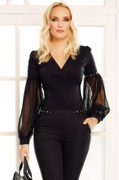 Fofy black elegant women`s shirt with tented cut slightly elastic cotton with v-neckline