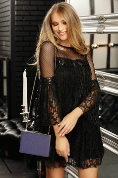 Black dress occasional flared laced with inside lining with bell sleeve