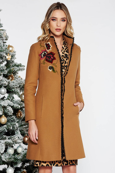 LaDonna brown elegant embroidered wool coat arched cut with inside lining with pockets