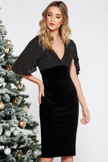 Black occasional midi pencil velvet dress with glitter details